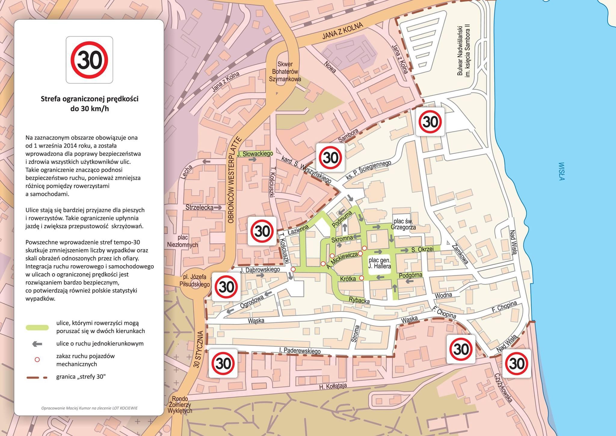 Granice strefy tempo 30 w Tczewie / źródło: facebook (Mirosław Pobłocki)