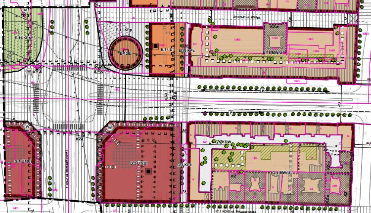 Wycinek z planu miejscowego dla rejonu Ronda Dmowskiego