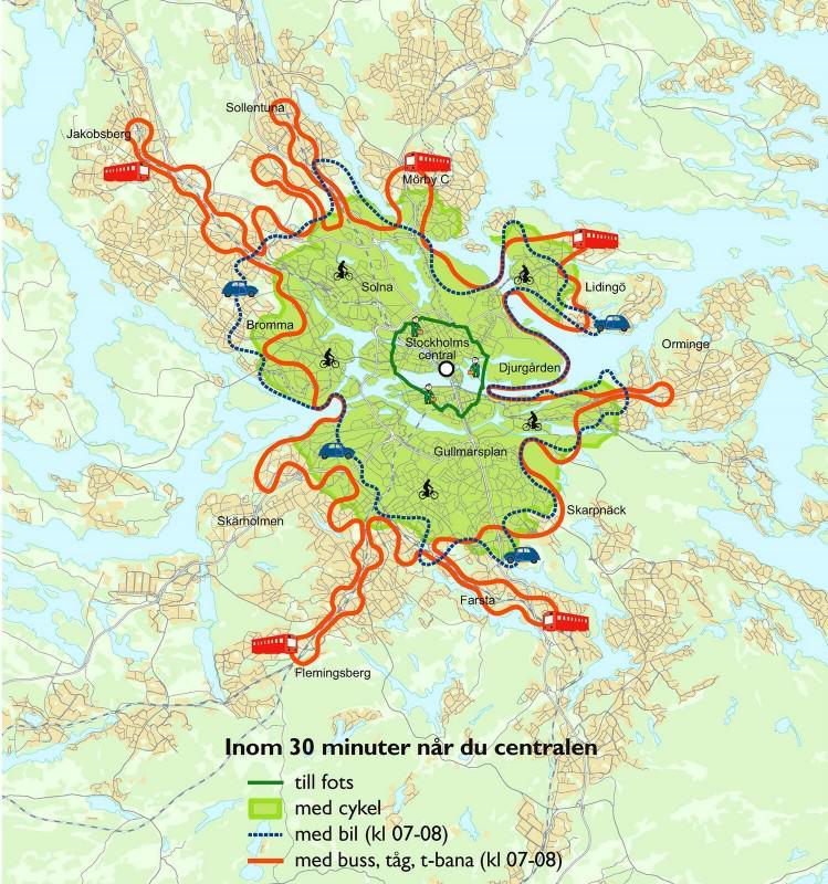Osiągalność czasowa dworca centralnego różnymi środkami transportu | źródło: Cykelstockholm i siffror 2010