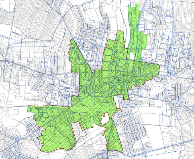 Kolorem zielonym oznaczono obszar zdegradowany, kolorem czerwonym obszar rewitalizacji określone w projekcie uchwały. Mapa: UM Tarnów