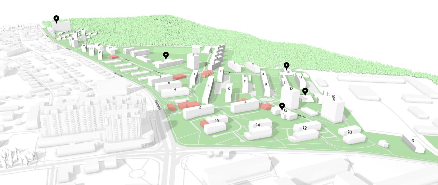 Trójwymiarowy model fragmentu dzielnicy Witomino-Radiostacja w Gdyni | autor: StructView
