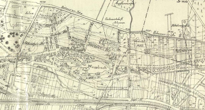 Fragment planu Poznania z 1911 roku obejmujący dzielnicę Sołacz | Archiwum Państwowe w Poznaniu