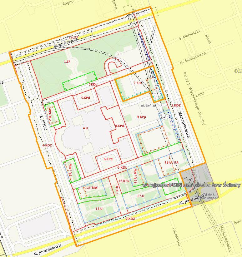 Wycinek planu miejscowego dla Placu Defilad | UM Warszawa