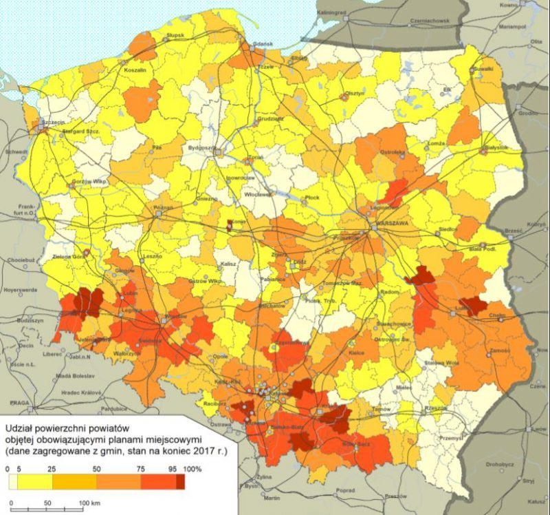 Udział powierzchni powiatów objętej sporządzonymi planami miejscowymi