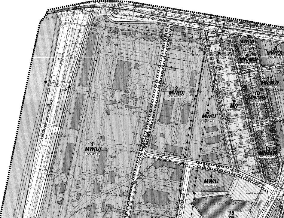 Wycinek planu miejscowego dla lokalizacji Warszawskiej Dzielnicy Społecznej