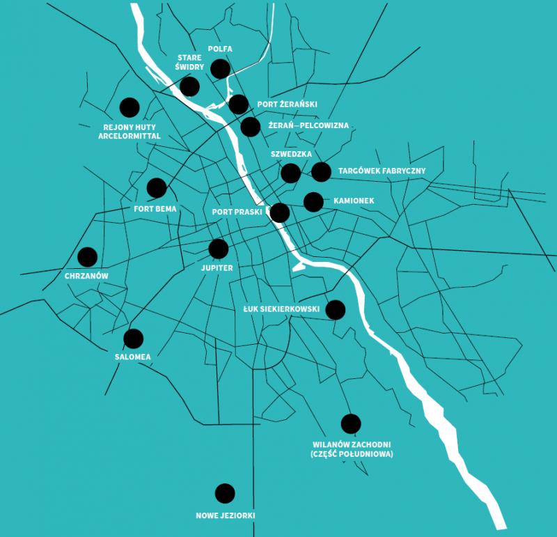 Osiedla Warszawy - lokalizacje