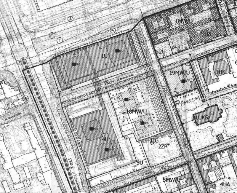 Częściowo unieważniony rysunek planu miejscowego dla rejonu ulicy Poznańskiej w Warszawie