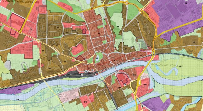 Wycinek z wyłożonego do wglądu projektu Studium Gorzowa Wielkopolskiego