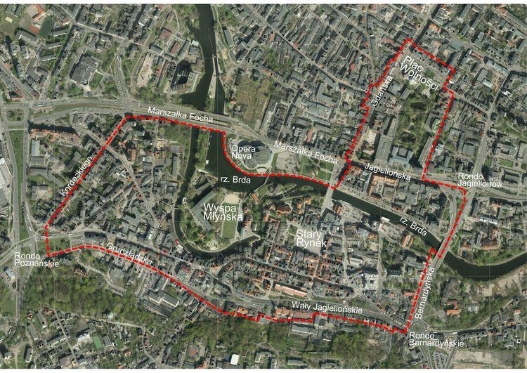 Proponowane granice Parku Kulturowego w Bydgoszczy
