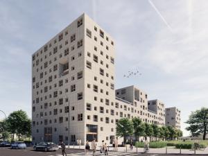 Wizualizacja budynku TBS na warszawskiej Ochocie | wiz. JEMS | za: wniosek w ramach specustawy mieszkaniowej