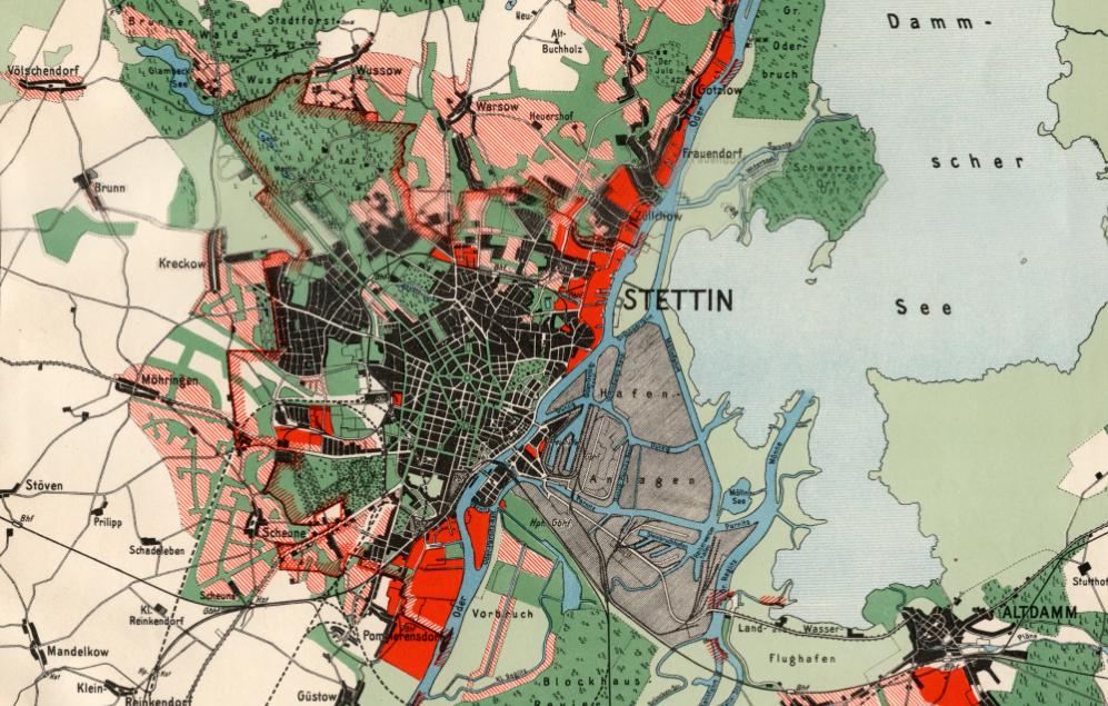 Historyczny plan Szczecina z 1934, przewidujący rozwój zabudowy miasta