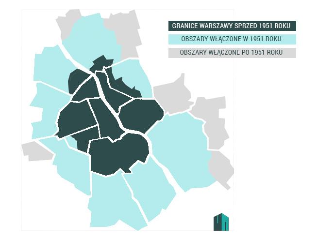 Zmiana granic stolicy w 1951 roku   graf. WW