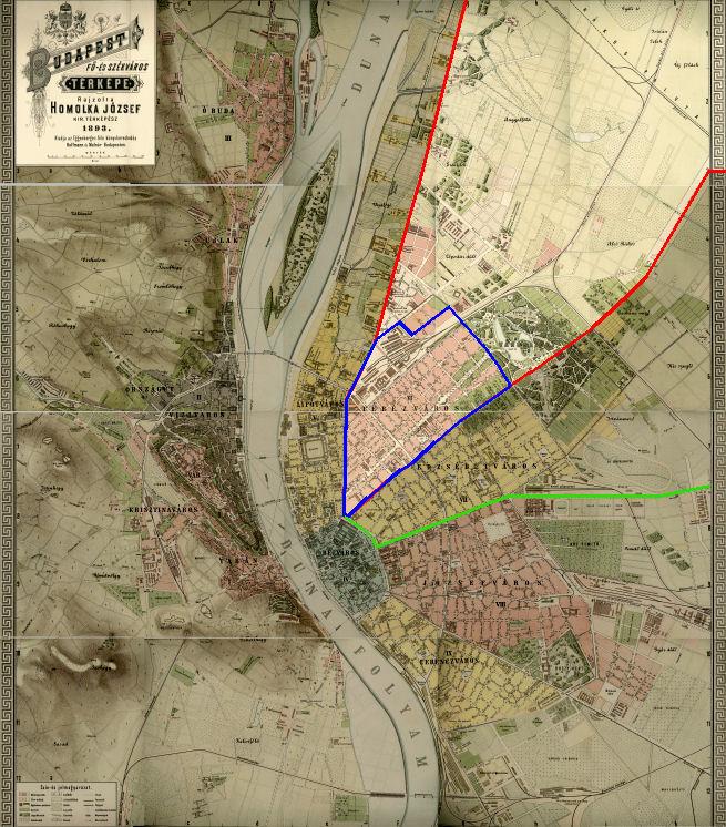 Historyczne granice dzielnicy Terézváros
