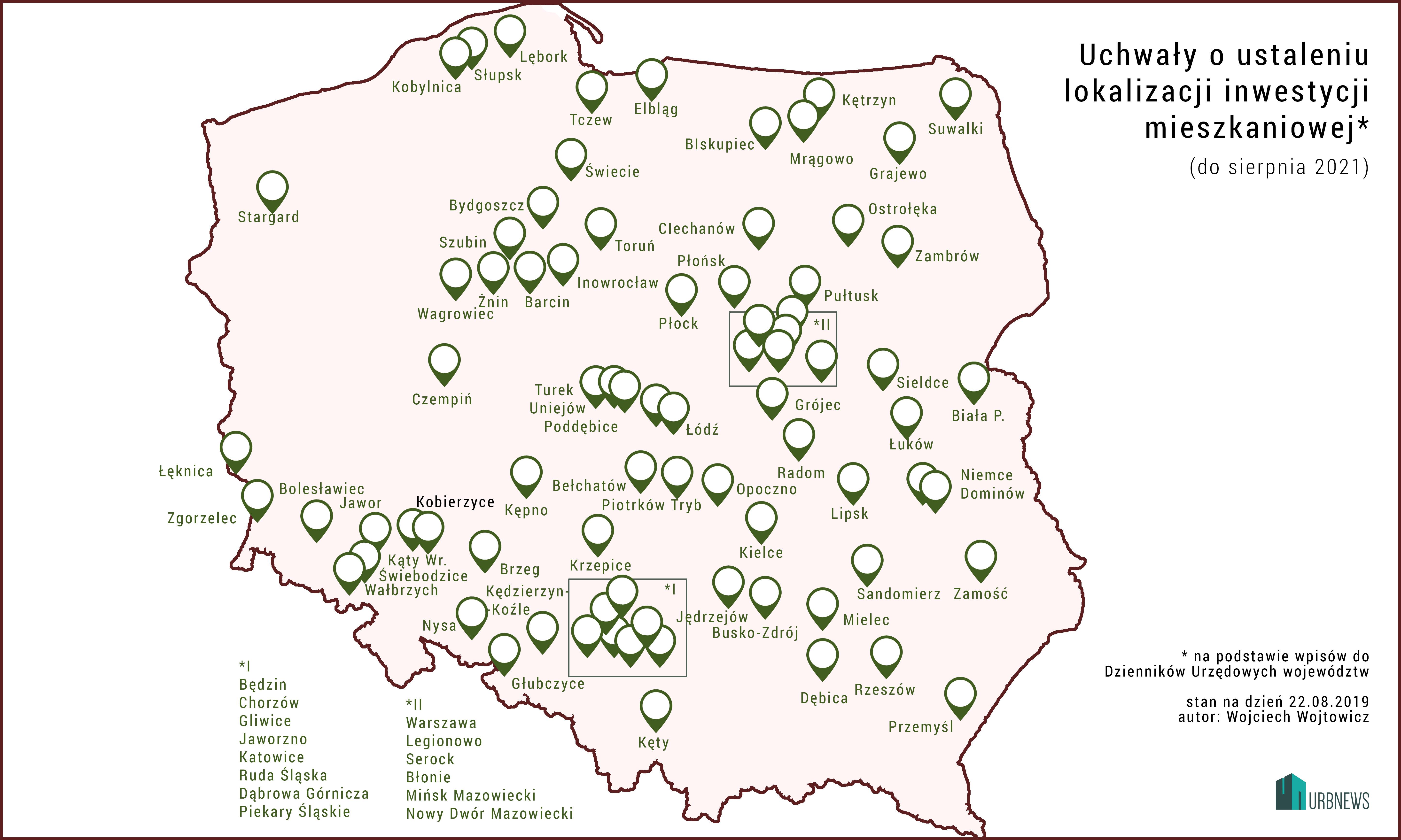 Miasta w których pozytywnie rozpatrzono wnioski w ramach specustawy mieszkaniowej